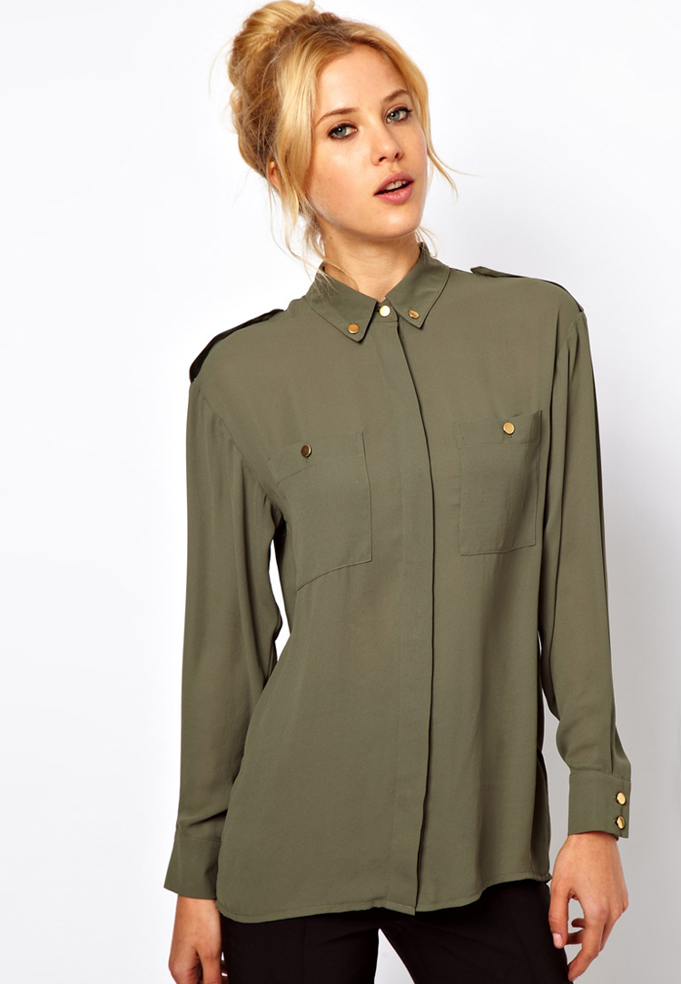 ASOS PETITE Shirt with Military Button Detail