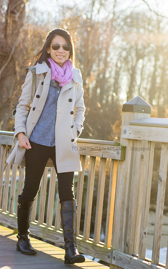 lilac scarf, chambray shirt, trench coat, black riding boots