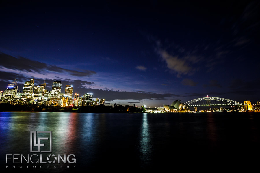 Downtown Sydney Night Skyline with Opera House & Harbour Bridge