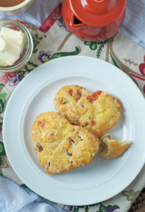 Strawberry scones on a white plate