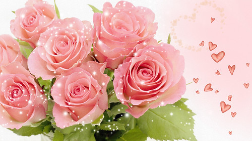 Pretty Pink Roses and Hearts