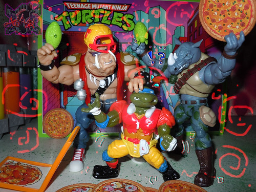 TEENAGE MUTANT NINJA TURTLES - CLASSIC COLLECTION :: ROCKSTEADY & BEBOP { tOkKustom Punk touch-ups } xli // .. with '91 T.D. TOSSIN' LEO (( 2013 ))
