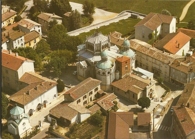 aerial shot of church and surrounds