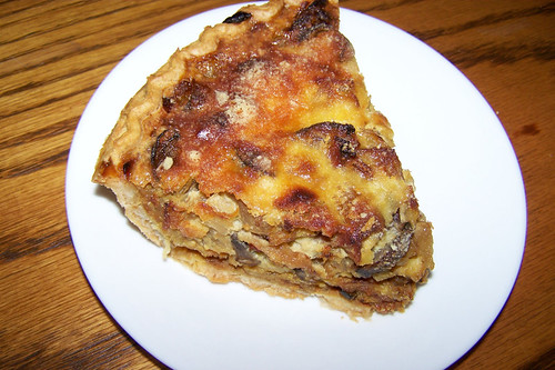caramelized onion, bacon and mushroom tart