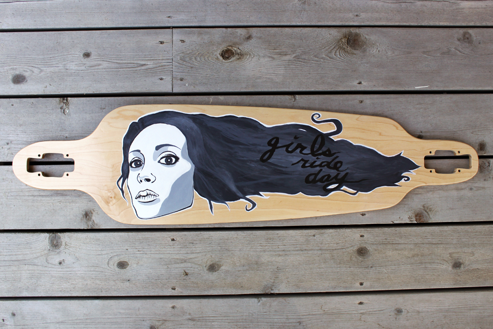 Custom hand painted longboard by Ace of Dymondz for Girls Ride Day charity fundraiser