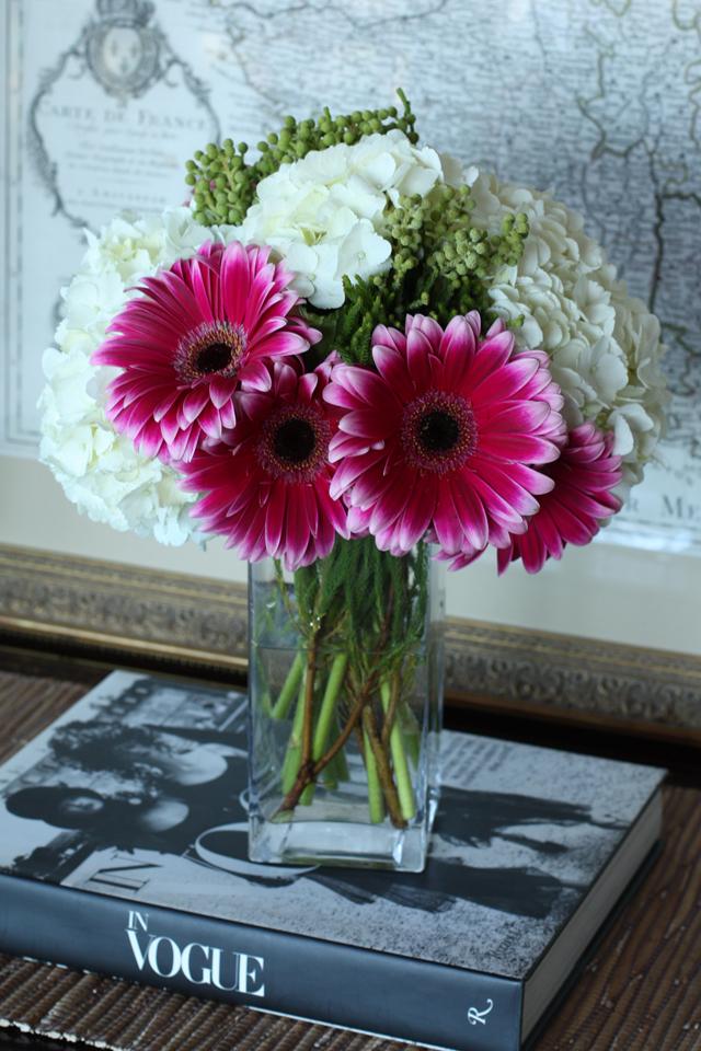 gerbera daisy & hydrangea flower arrangement 2