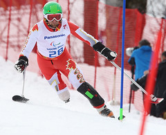Matt Hallat in action during the slalom at the 2014 Paralympic Winter Games in Sochi, RUS