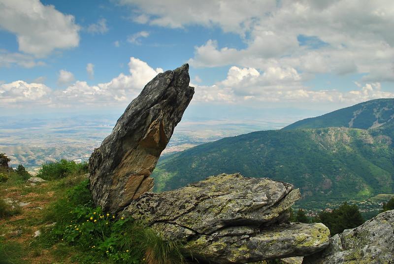 Leaning rock in Pelister