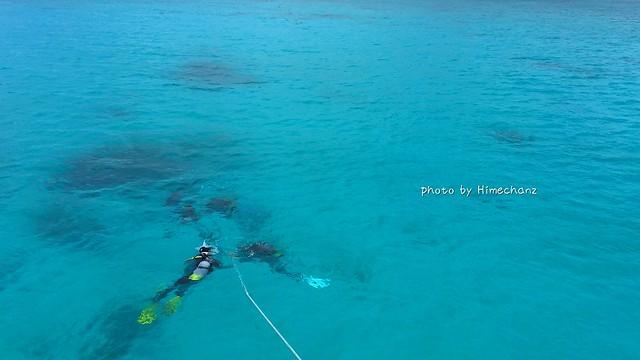 練習を終えて青い海の中へいざ♪