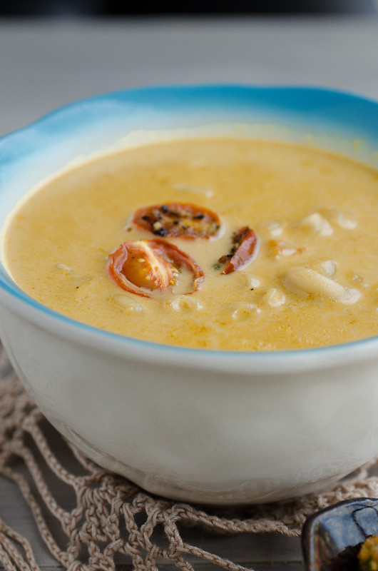 Macaroni and Cheese Soup with Roasted Cherry Tomatoes