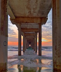 Beneath the Scripps Pier, past sunset- HDR (3 exposures)