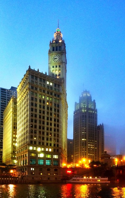 Wrigley Building and Tribune Tower in Chicago fog