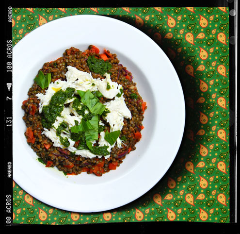 Puy lentils with Mozzarella and basil oil