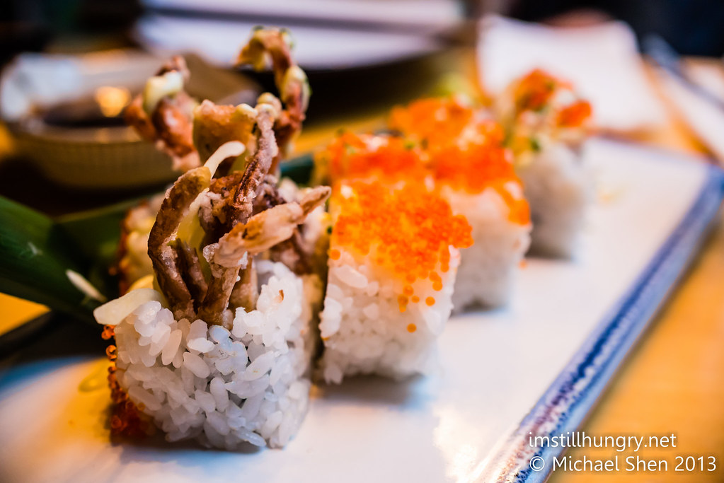Kuki Tanuki Spicy spider inside out roll - soft shell crab, cucumber, avocado & spicy mayo