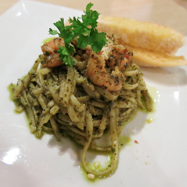 Pesto Shrimp and Garlic Pasta at Brickfire