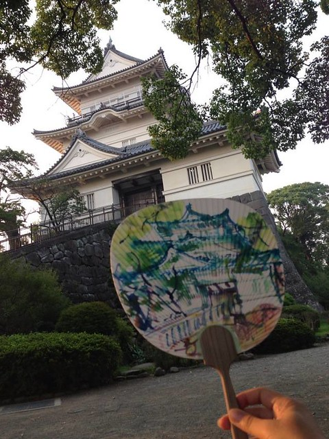 Odawara castle sketched on a fan