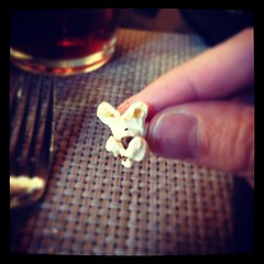 A piece of popcorn that looks like a dog.