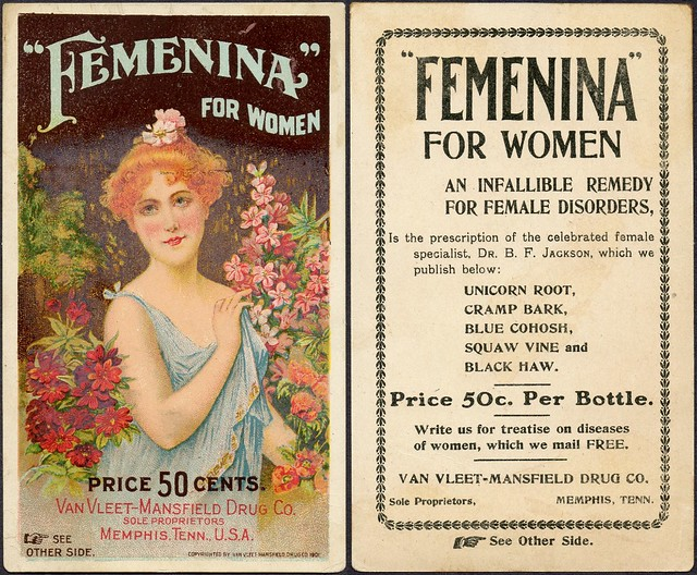1901 trade card - Femenina for women, female disorder cure, VanVleet-Mansfield Drug Co., Memphis, Tenn.