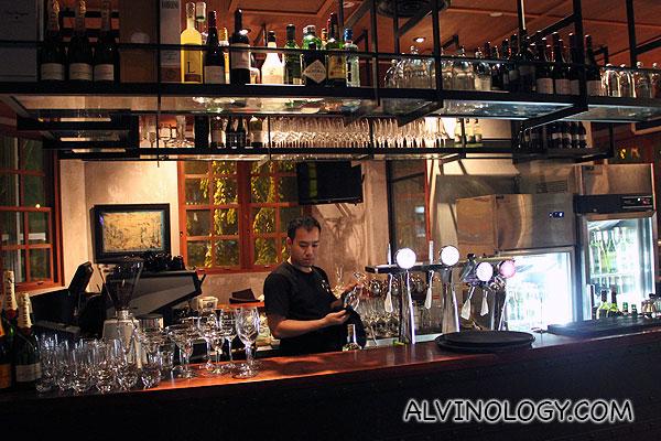 Open bar on the second floor