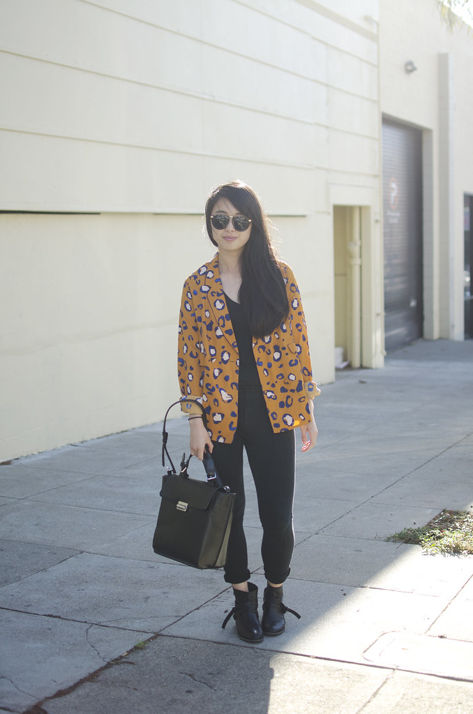 phillip lim for target, how to wear phillip lim for target animal print, all black outfit, san francisco fashion, san francisco fashion blog, readytwowear, leopard print blazer, show us basic