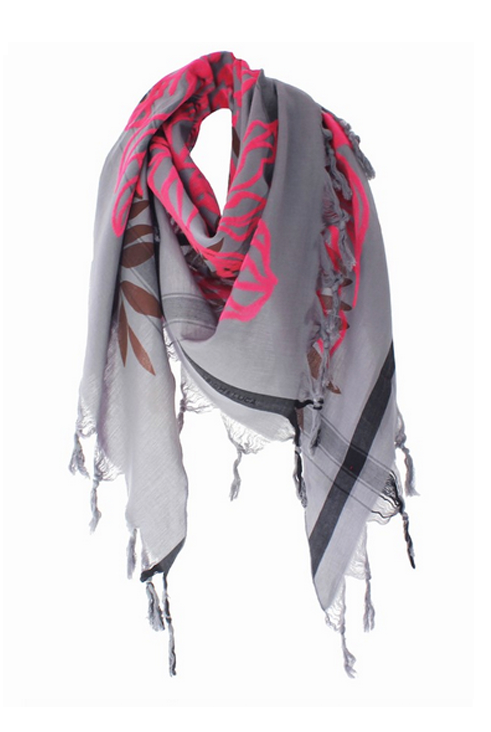 Pixel Leaves Pink Triangle Scarf
