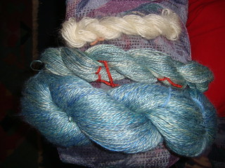 Soy silk skeins and Leicester Longwool sample