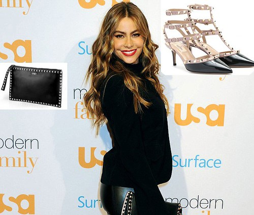 Sofia Vergara in Valentino rockstud sling back & clutch bag