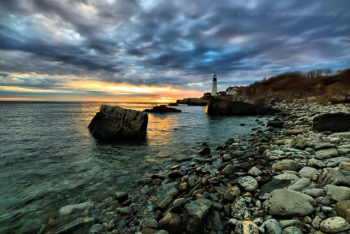 ocean sky sun lighthouse me sunrise canon portland eos rocks maine newengland atlantic 5d headlight markiii