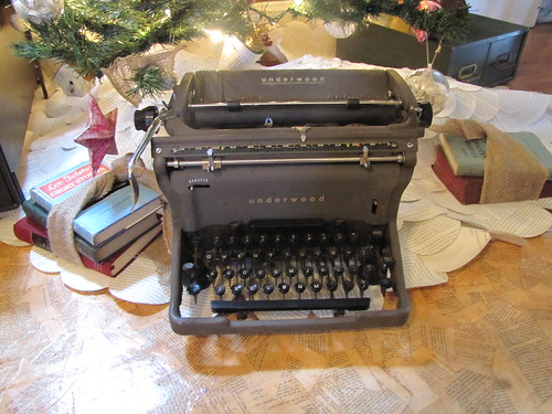 Vintage typewriter and books