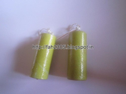 Handmade Jewelry - Rolled Cylinder Paper Earrings (7) by fah2305