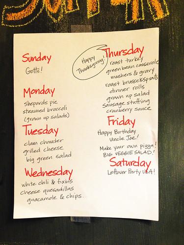 Thanksgiving week meal plan