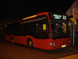 Arriva London (Evobus) MBK1 on Route 313, Chingford Station