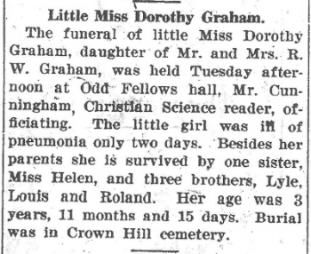 Dorothy Graham death notice