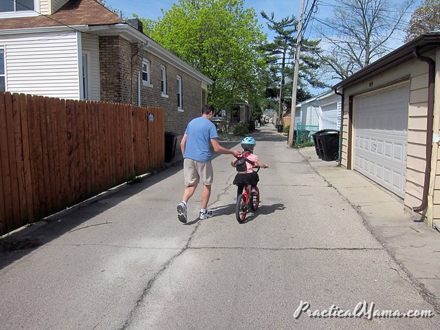 Teaching my daughter riding 2-wheel bike