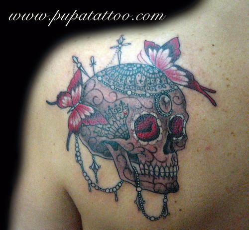 Tatuaje Calavera Pupa Tattoo, Granada by Marzia PUPA Tattoo