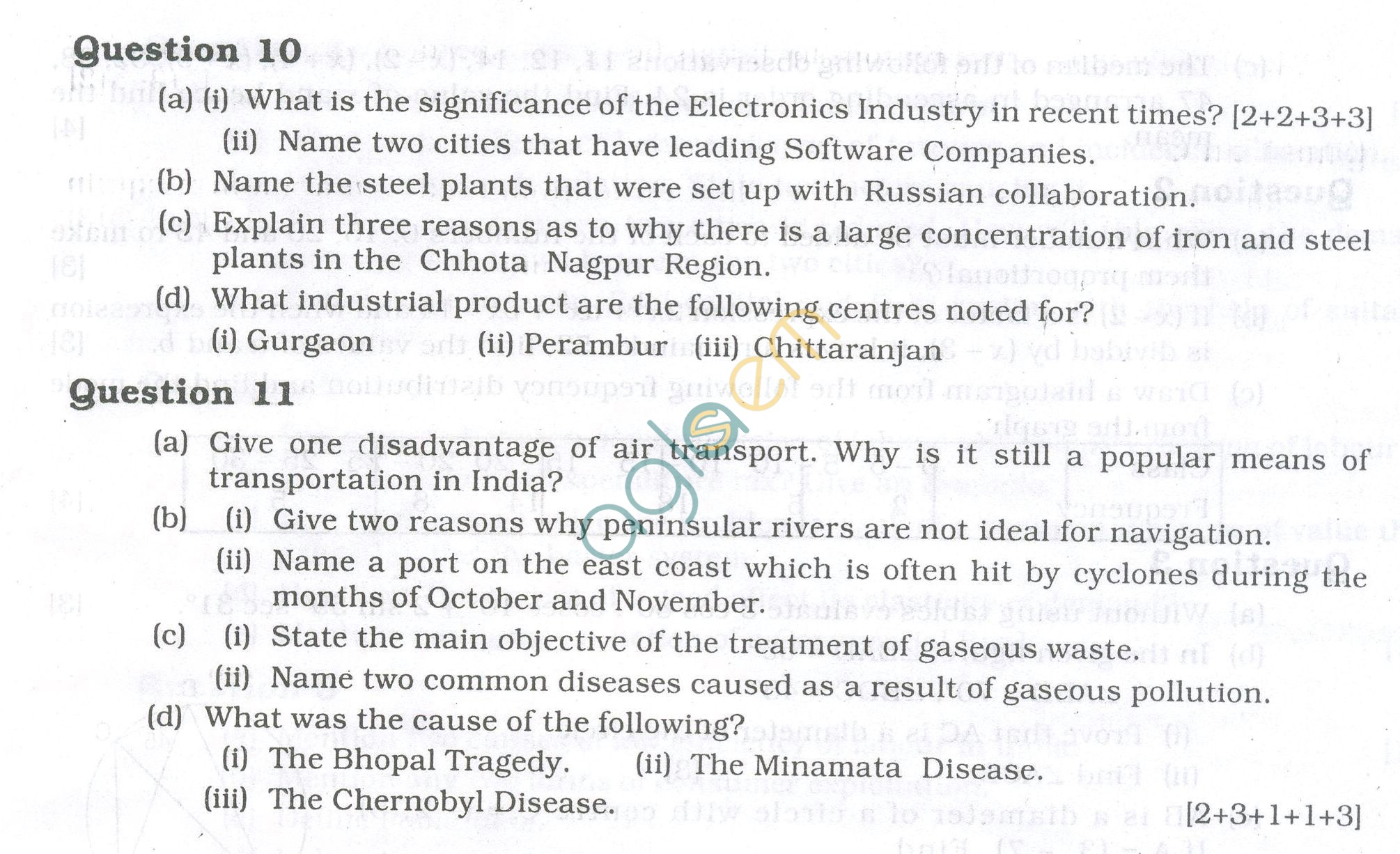ICSE Question Papers 2013 for Class 10 - Geography
