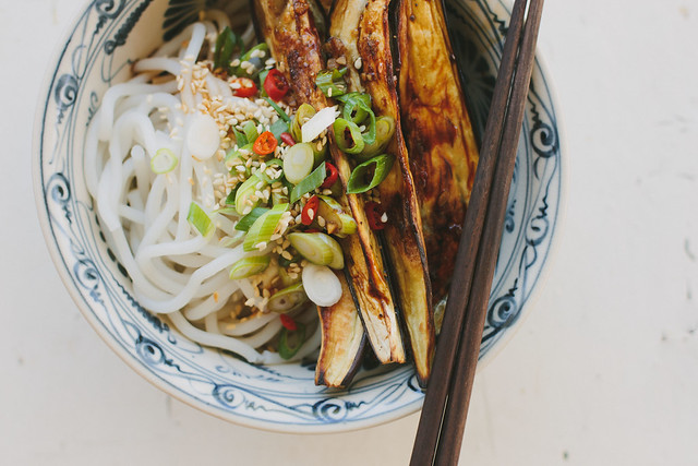 Roasted eggplant + noodles with Chinese black vinegar dressing (gluten-free + vegan)