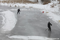 Ice Hockey on Frozen River