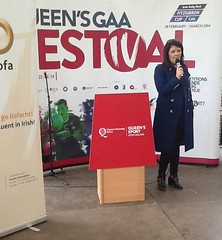 BBC Presenter Lynette Fay speaking at the GAA Festival Queens