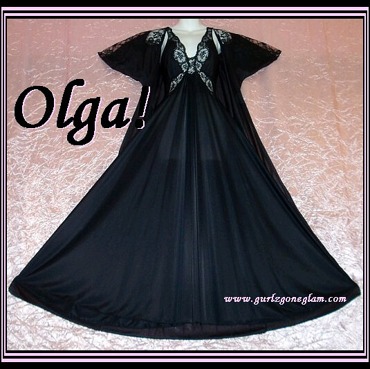 Black Olga Nightgown and Peignoir fits sizes small and medium!