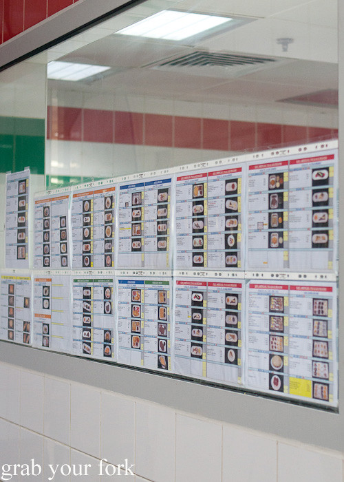 Visual menu guides during a behind-the-scenes tour of Emirates Flight Catering