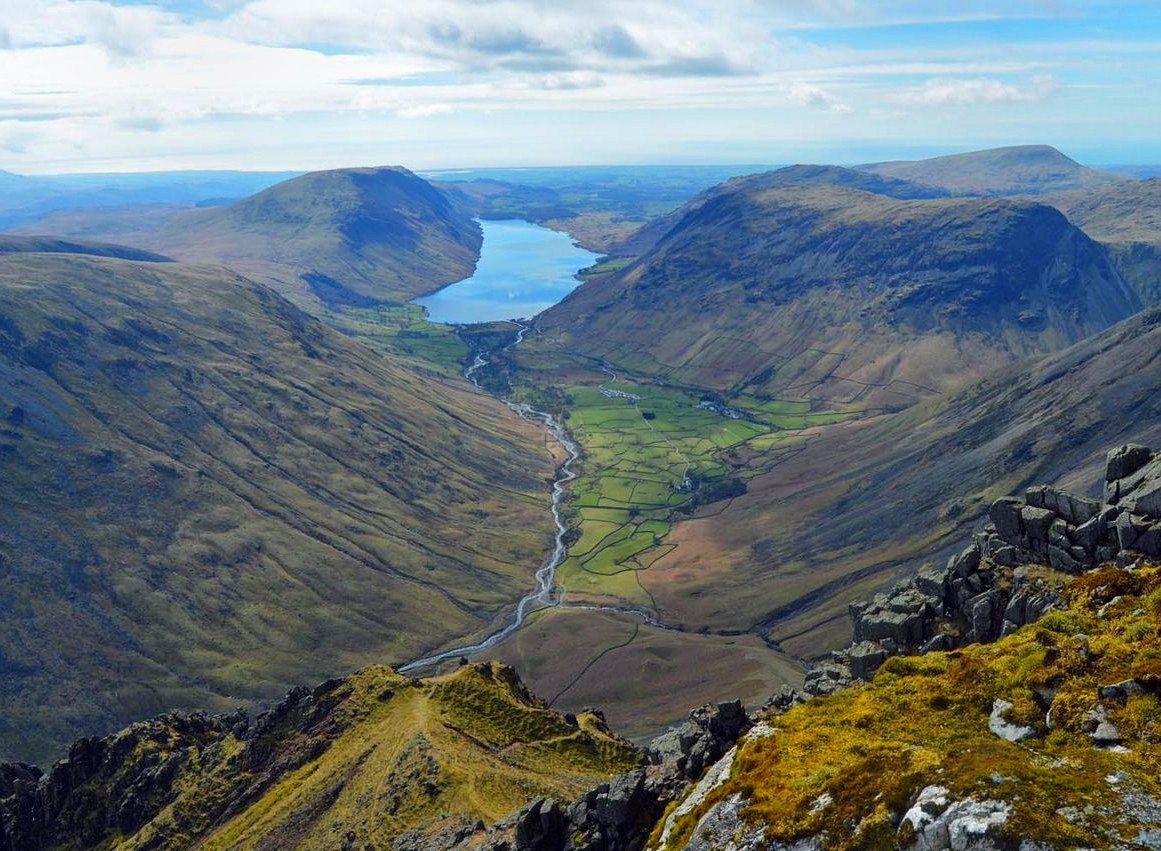 The view from the cairn built by the Westmorland brothers in 1876 to the SW of the summit of Great Gable, which they considered the finest view in the district. Credit Doug Sim