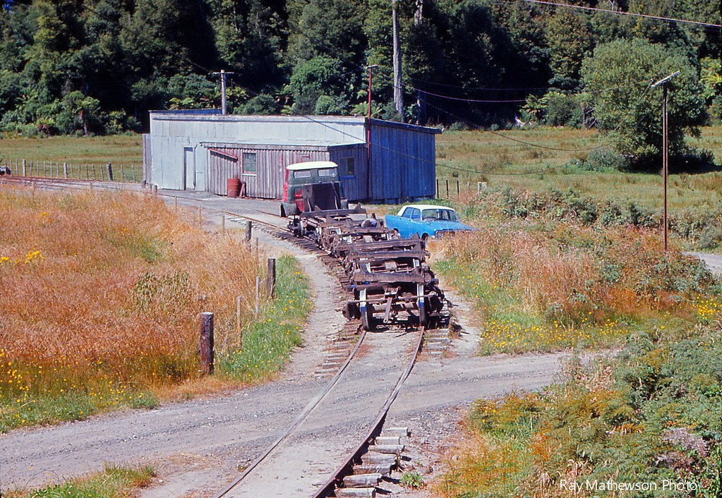 Ray Bush tram stored near railcar shed Jan 1974