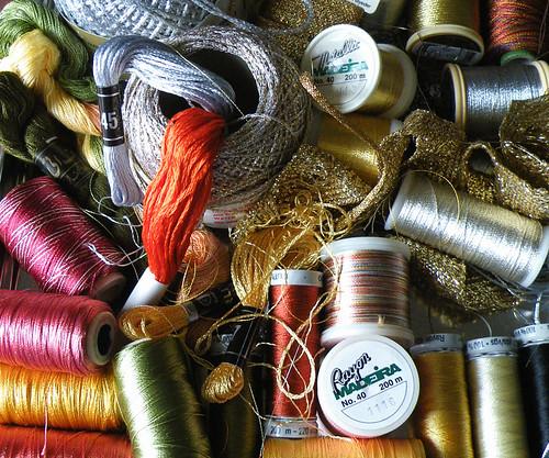 rayon and metallic thread jumble