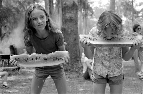 Girls competing in a watermelon eating contest on July 4th: White Springs, Florida