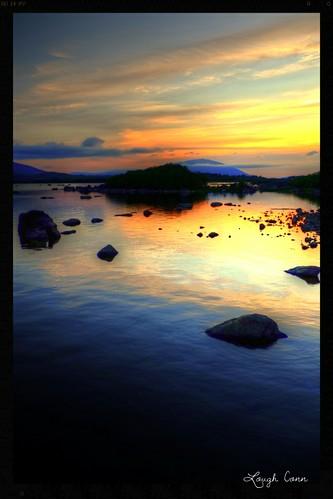 ireland sunset mountain lake water landscape rocks lough mayo conn nephin