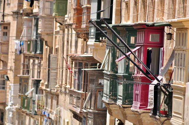 Qué ver en La Valeta: Balcones de los edificios de La Valeta