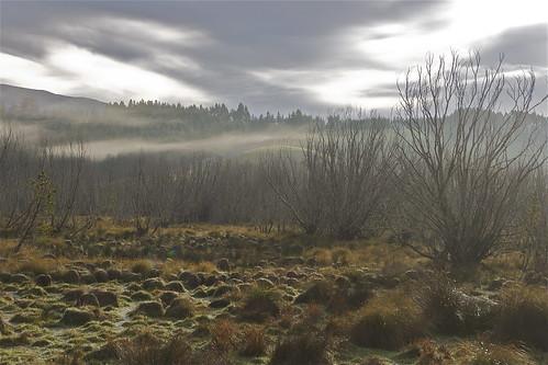 morning winter light newzealand sky cloud mist fog canon landscape otago berwick wetland sinclairwetland