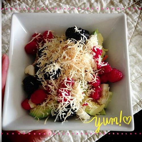7/30. Fruit and veggie salad with toasted coconut for dinner #pictapgo_app #abeautifulmess #vegan #selfie