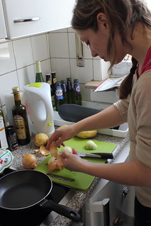 Making a Spanish omelette